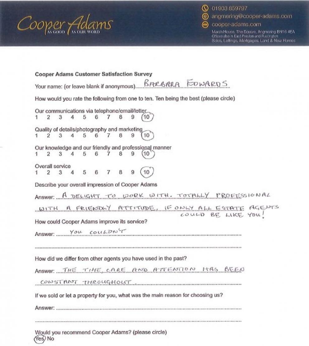 customer satisfaction form
