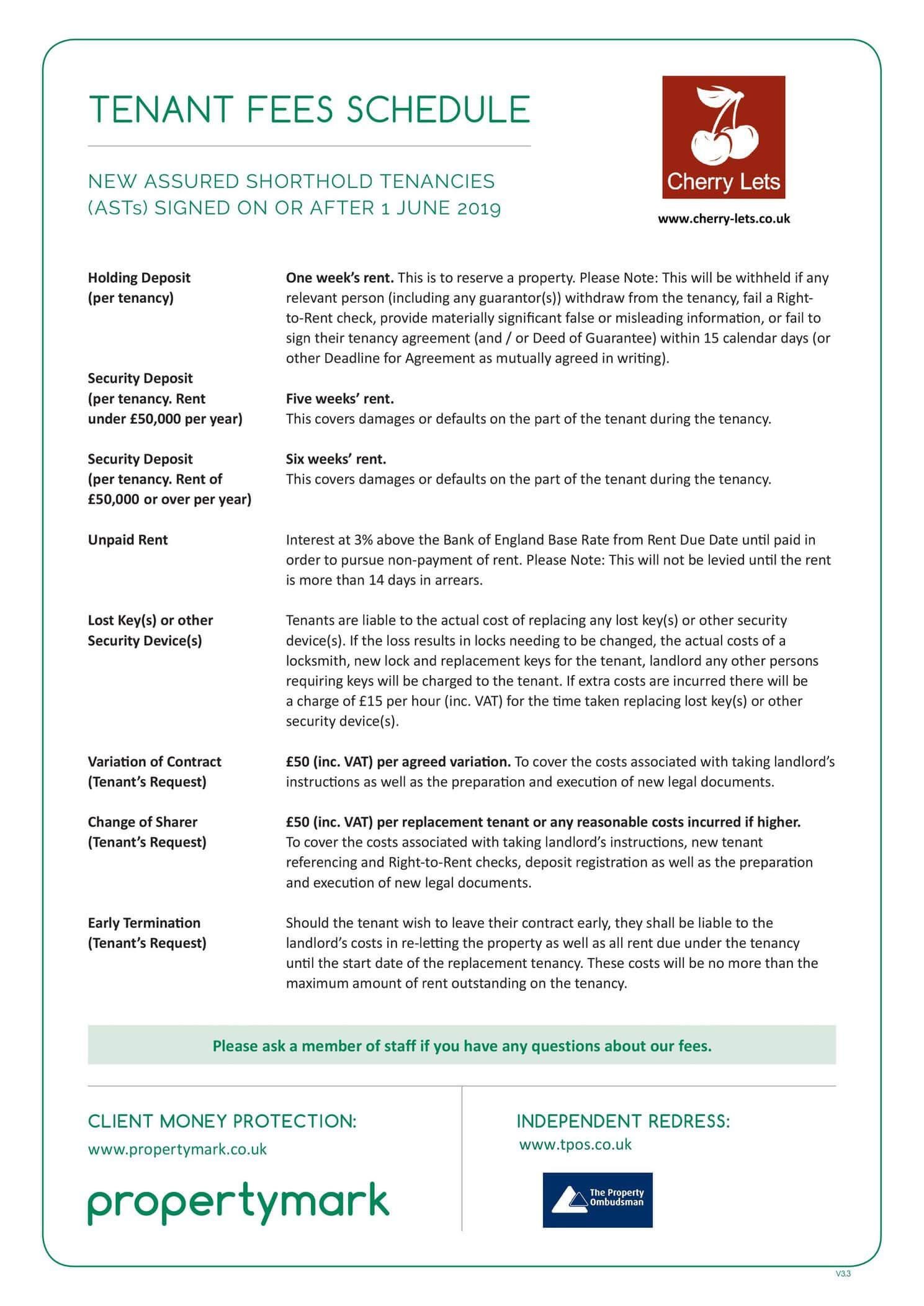 Cherry Lets - ARLA Propertymark Tenant Fees Schedule