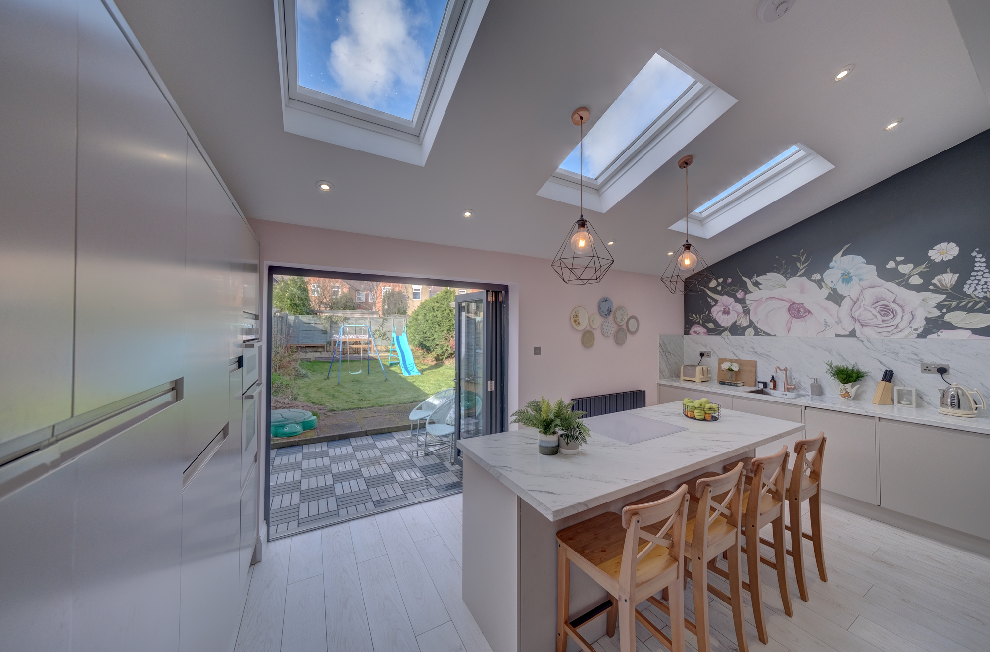 Priesthills Road, Hinckley - A success story - luxury living kitchen with bi fold doors