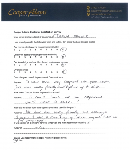 Customer Satisfaction Survey Diana Haycock