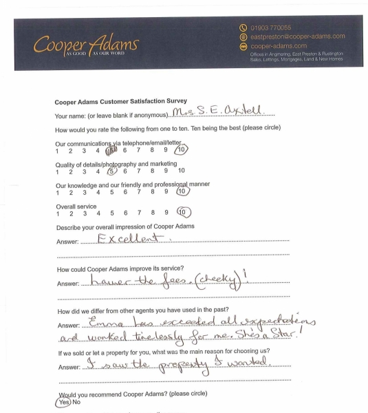 Customer satisfaction survey from Mrs S Axtell