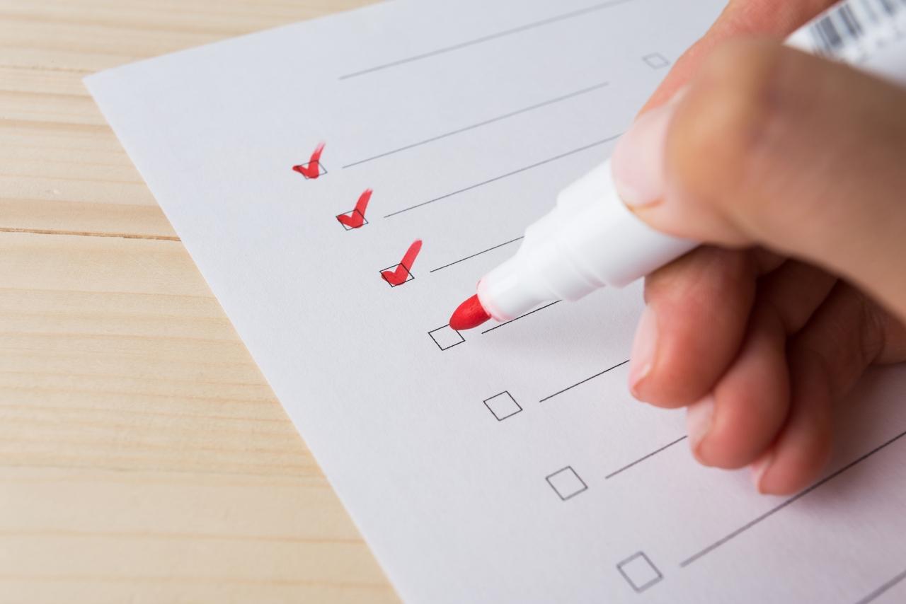 >checklist, hand, pen