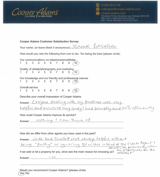 customer satisfaction survey from Jeanne Bashford