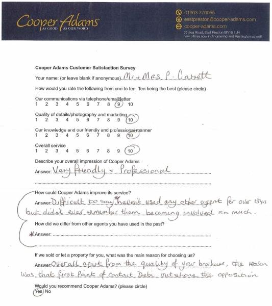 customer satisfaction survey Mr & Mrs Garrett