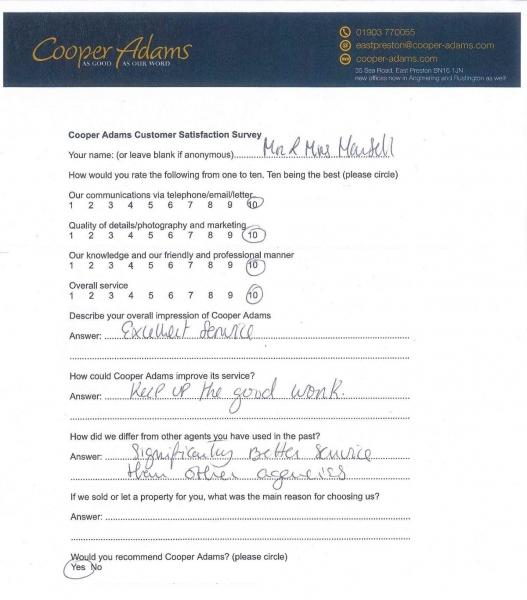 Mr & Mrs Mansell Customer Satisfaction Survey