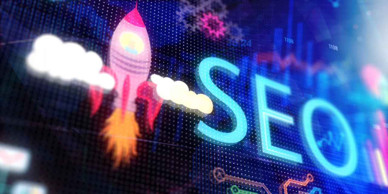 A rocket taking off with the acronym SEO beside it