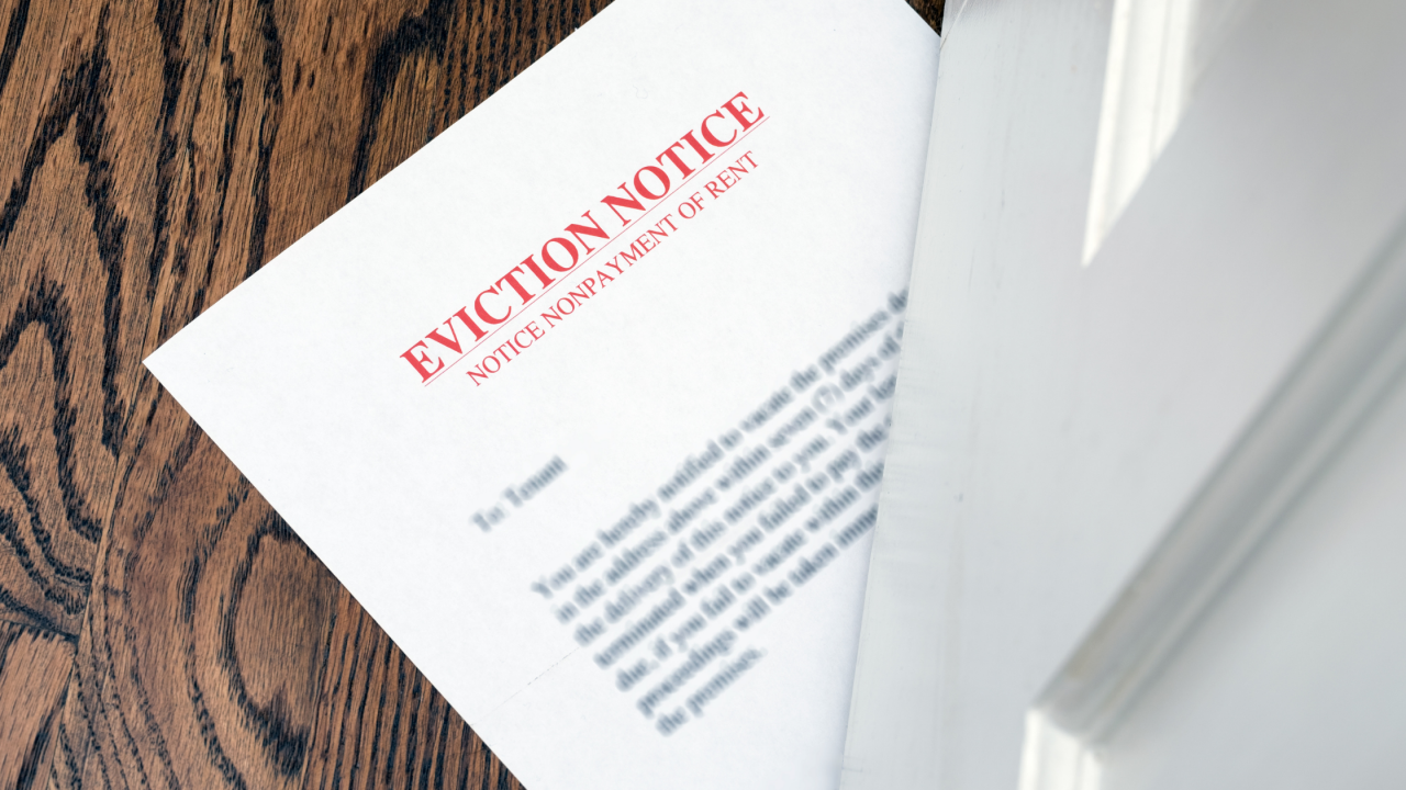 >Change in eviction notice...