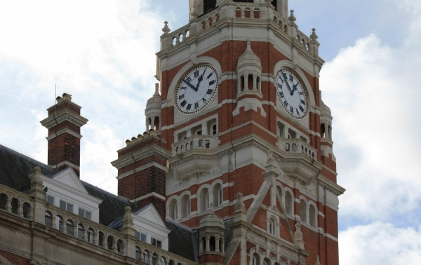 A photo of Croydon Library's clock tower