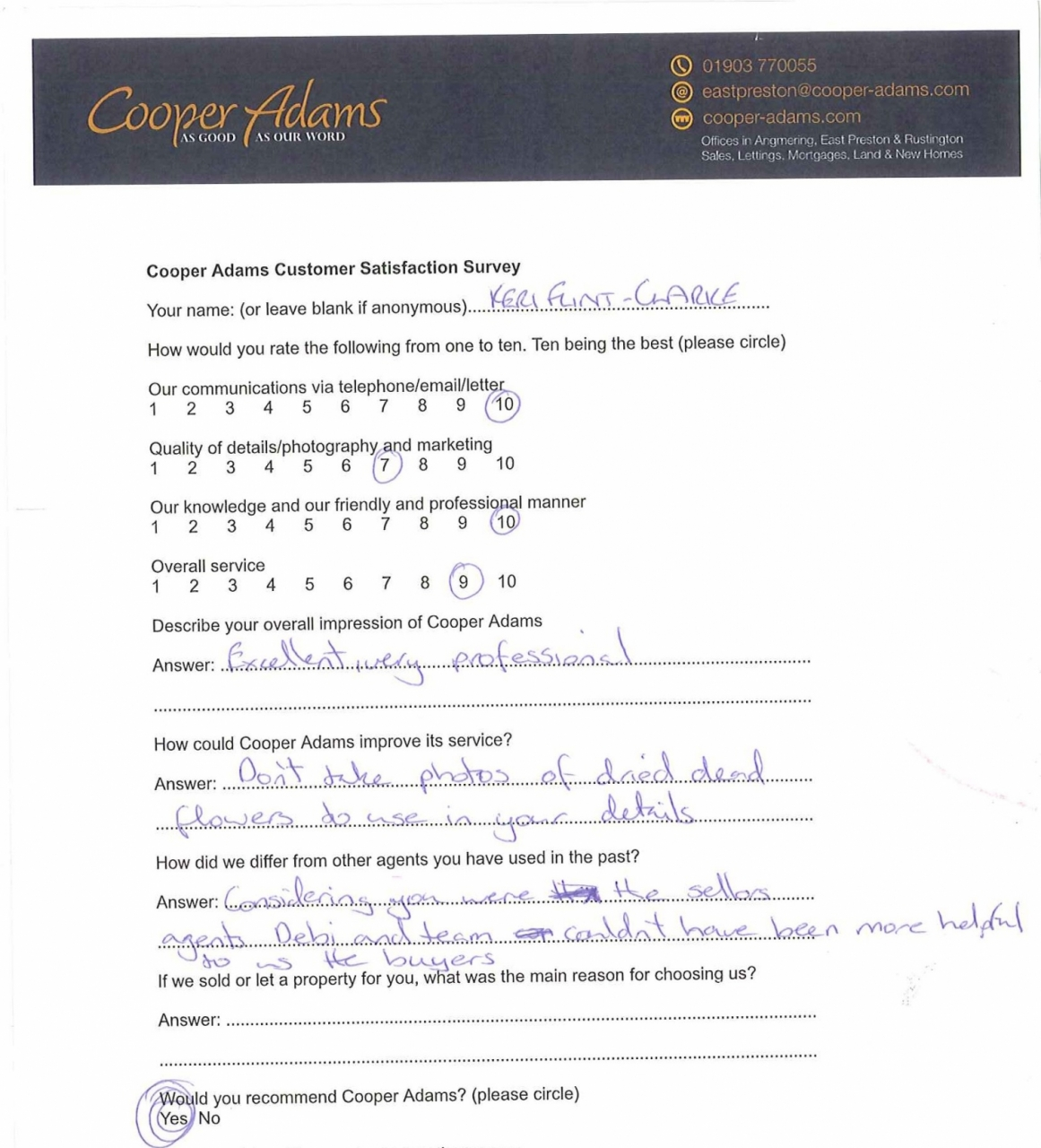 Customer satisfaction survey from Keri Flint-Clarke