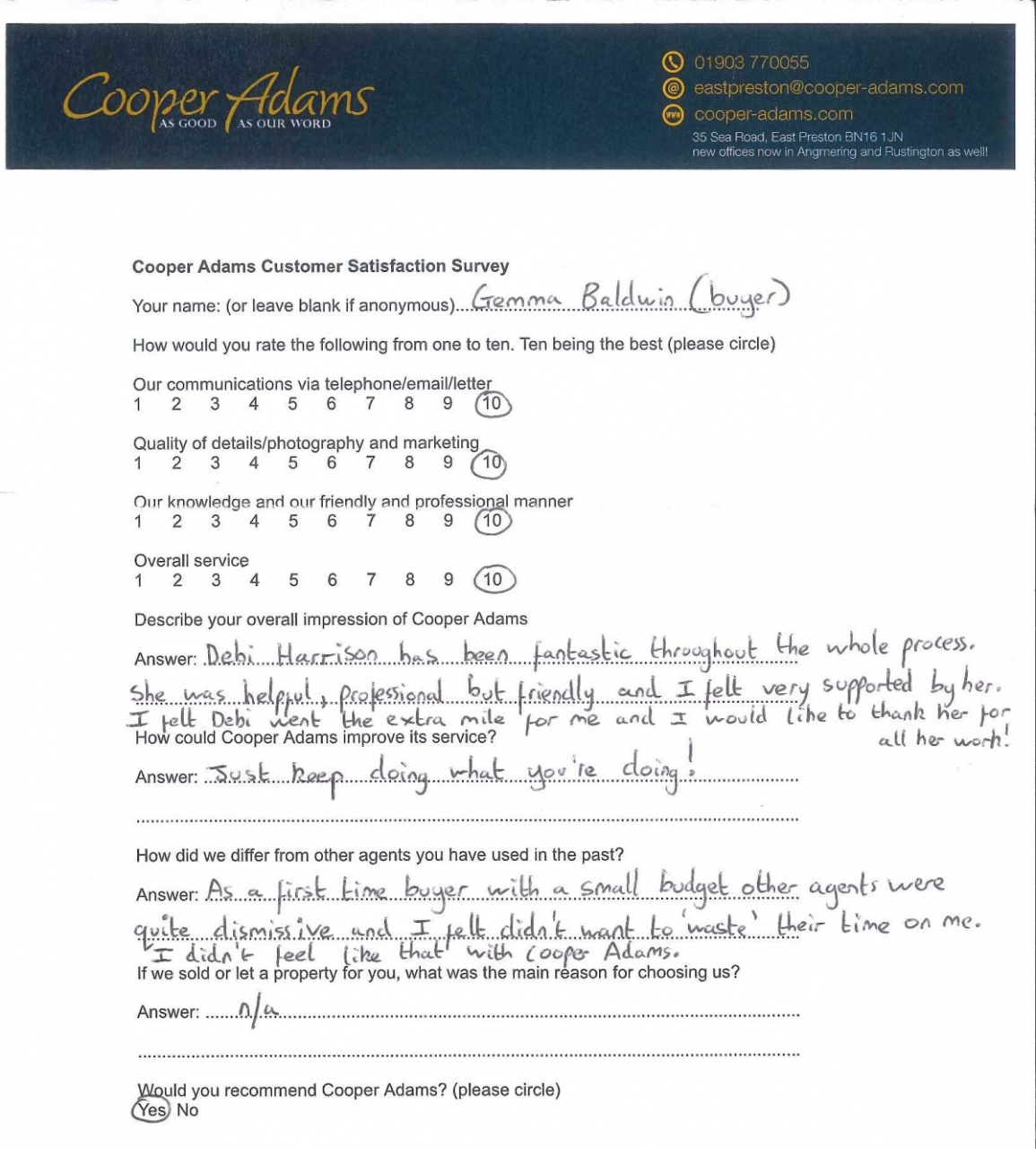 Customer satisfaction survey - Gemma Baldwin