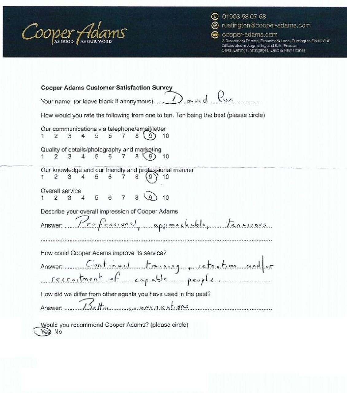 Customer satisfaction survey from David Cox