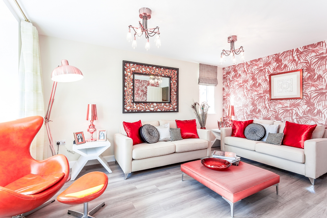 >Red and White Styled Living Room