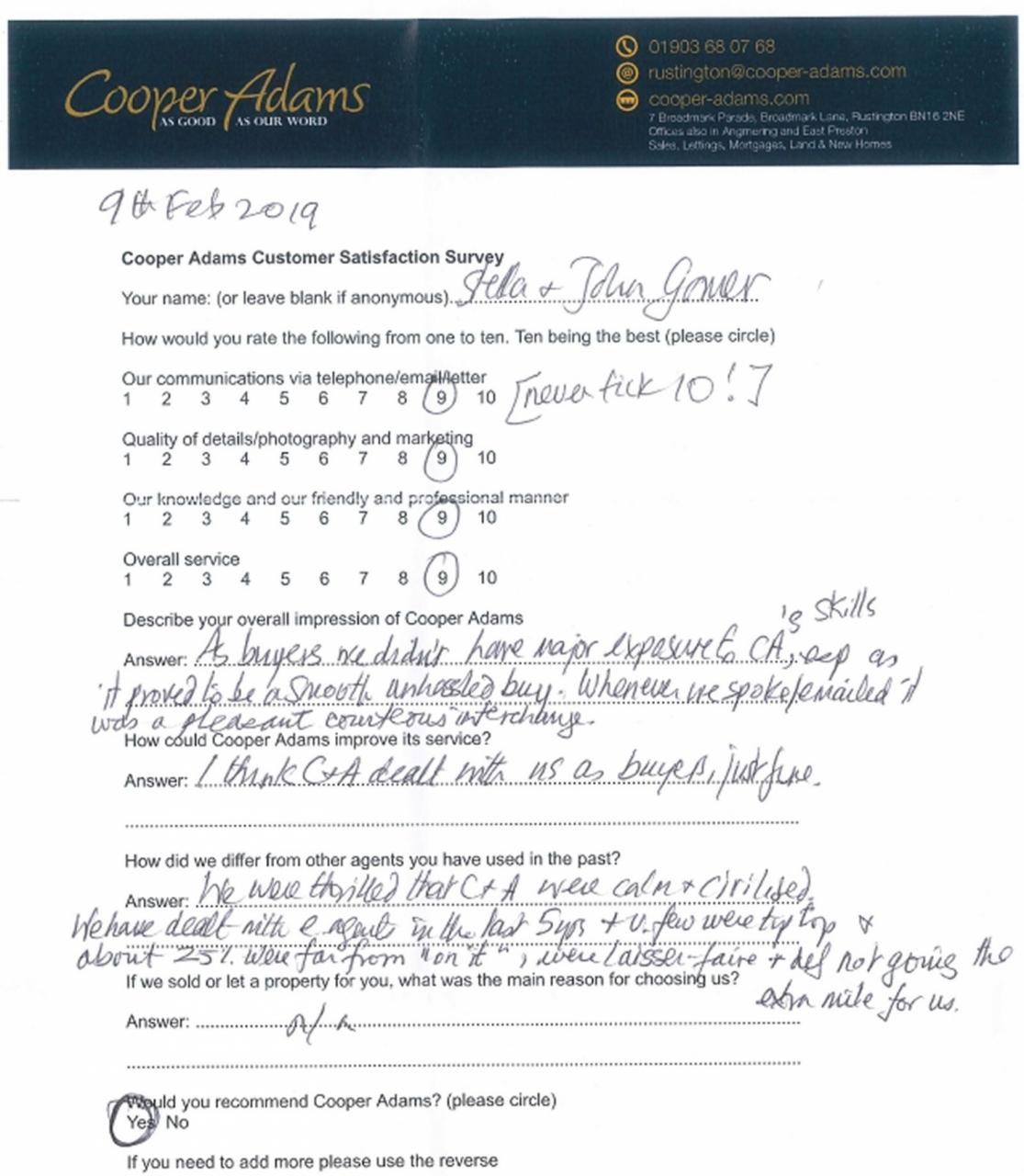 Customer satisfaction survey from Mr & Mrs Gomer