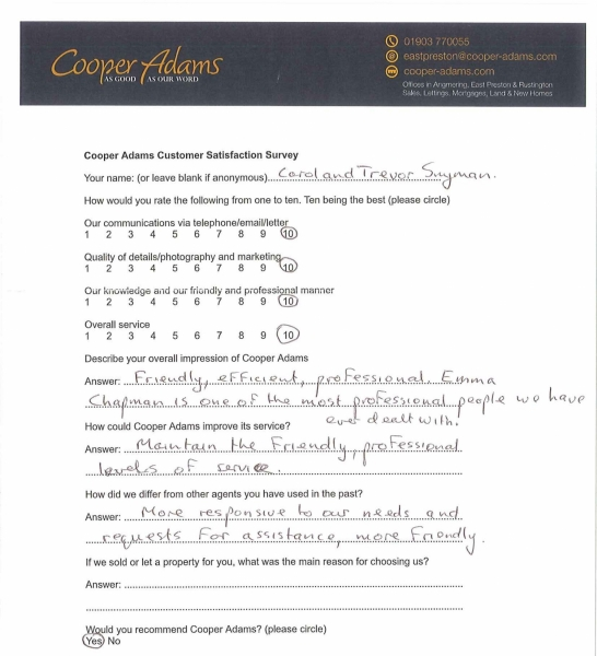 Customer satisfaction survey from Carol & Trevor Snyman