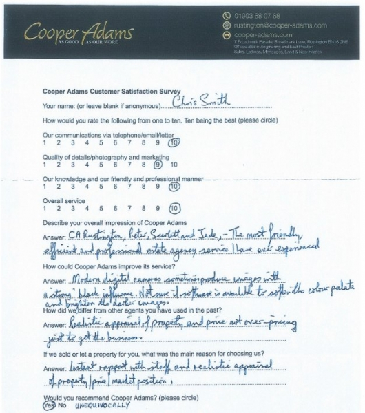 Customer satisfaction survey from Chris Smith