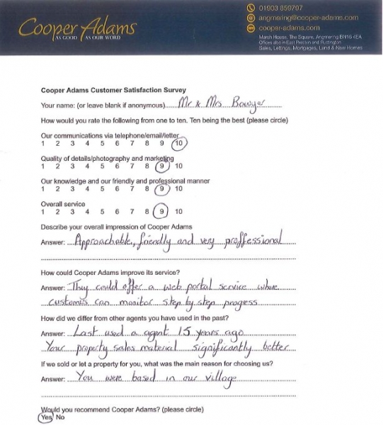 Customer Satisfaction Survey from Mr & Mrs Bowyer