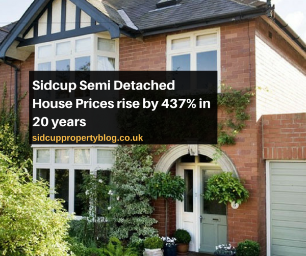 Sidcup Semi Detached House Prices rise by 437% in 20 years