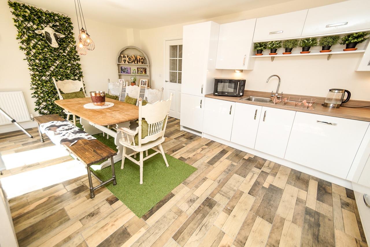 >White finish wooden kitchen