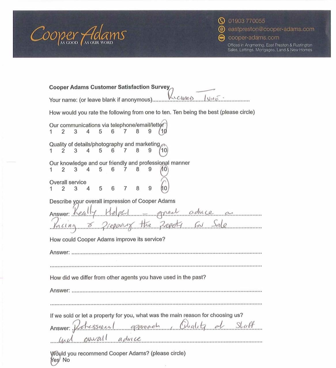 Customer satisfaction survey from Richard Tune