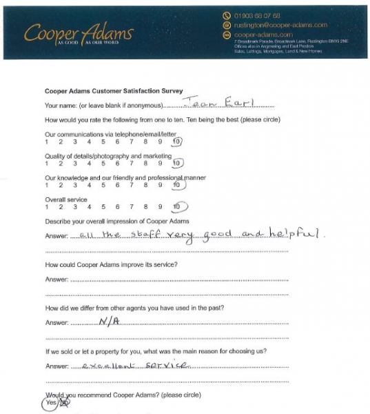 Customer satisfaction survey from Jean Earl