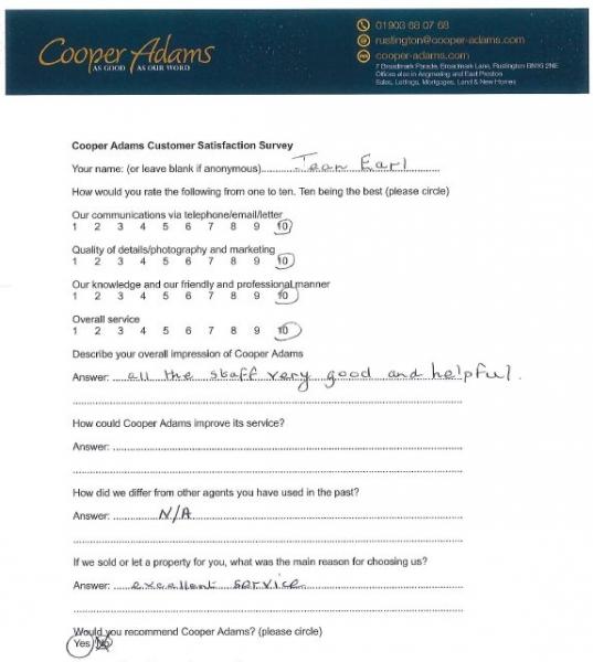 Customer satisfaction survey from Jean Earl