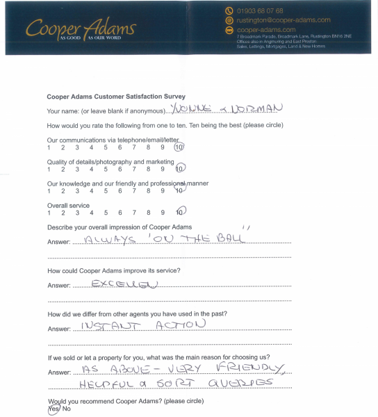 Customer Satisfaction Form from Mr & Mrs George
