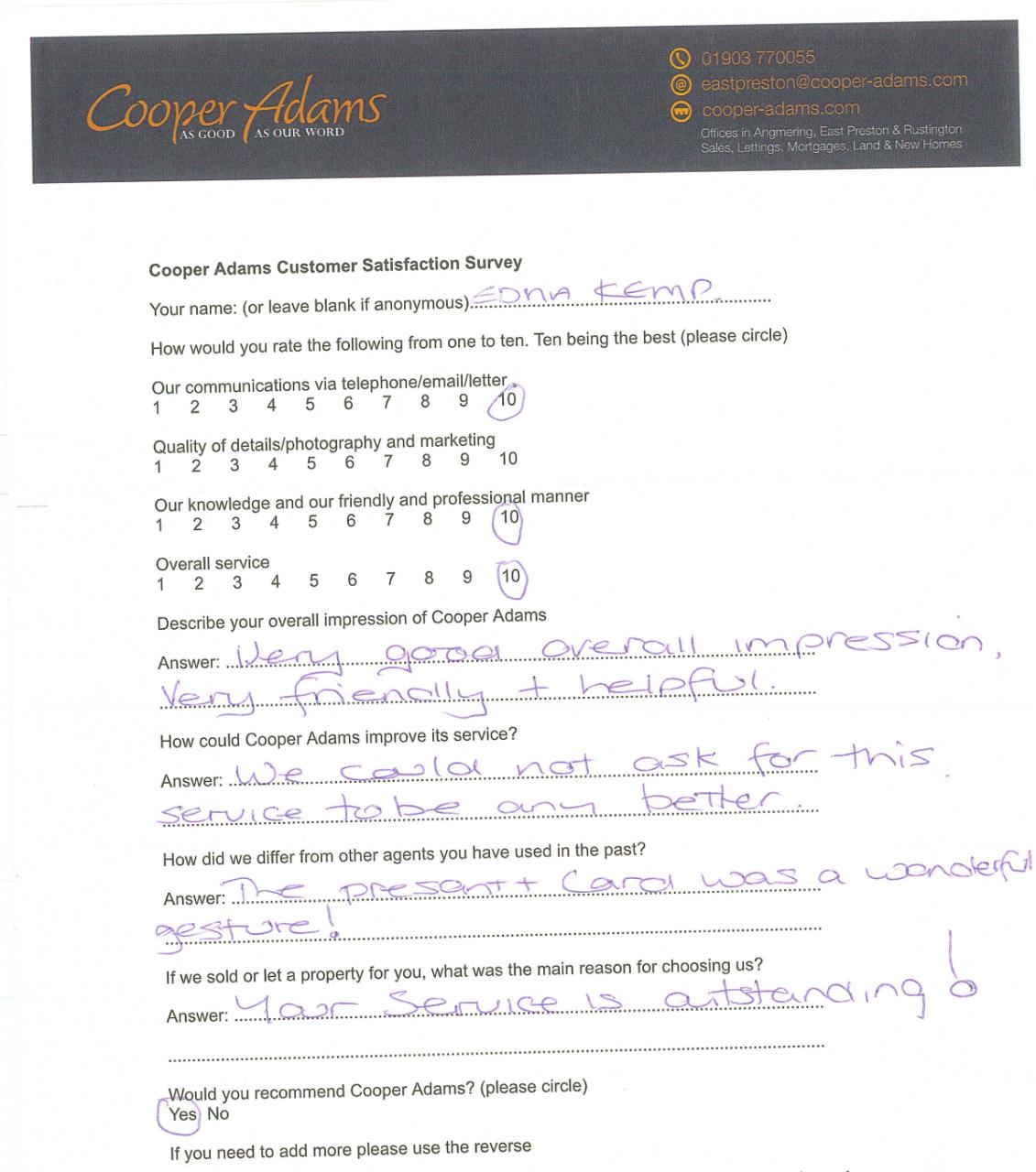 Customer Satisfaction Survey from Mrs Kemp