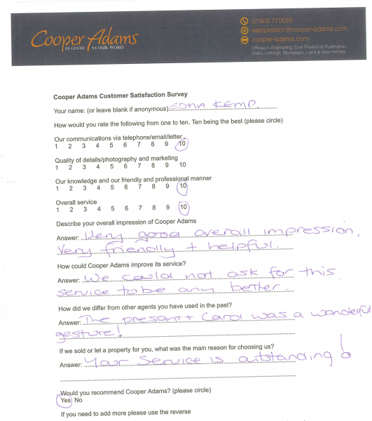 Customer Satisfaction Survey from Mrs Kemp