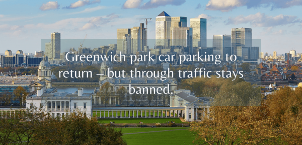 Greenwich Park car parking to return – but through traffic stays banned