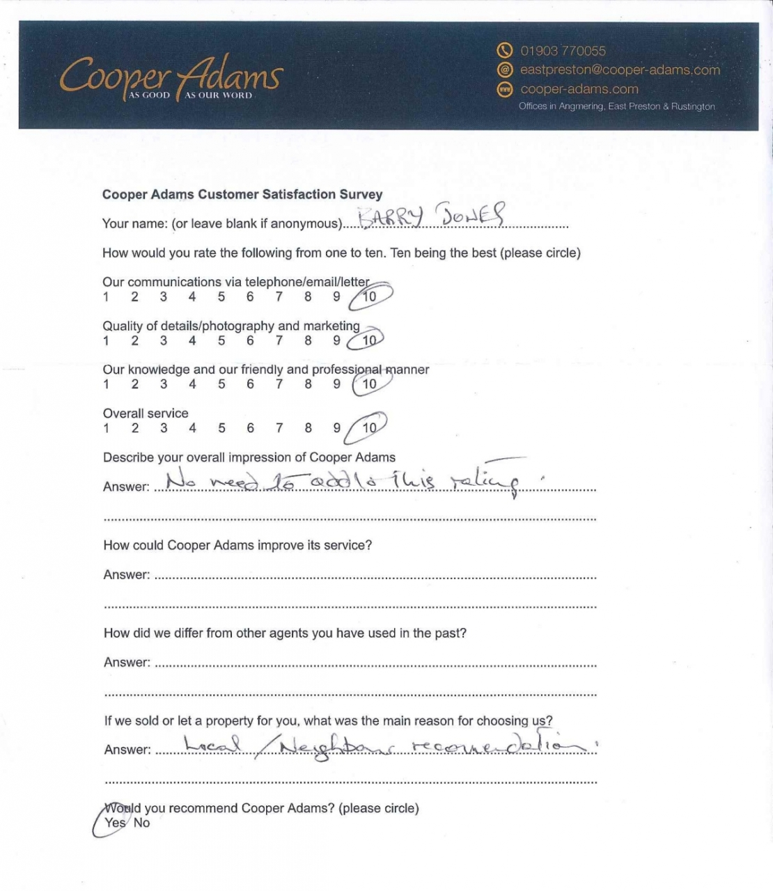 Customer Satisfaction Survey Barry Jones