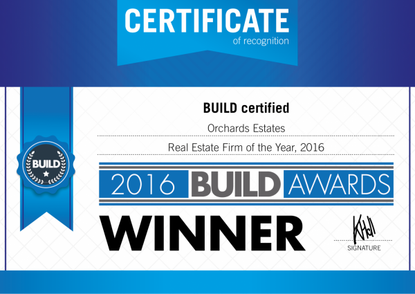 REAL ESTATE FIRM OF THE YEAR 2016 - Orchards Estates win another award
