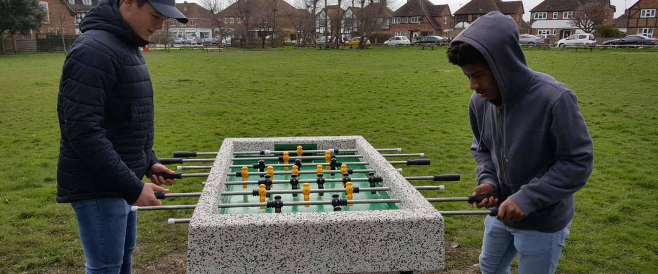 Outdoor Concrete Table Football comes to Village Green, East Preston Village