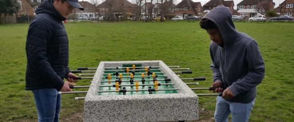 Outdoor Concrete Table Football comes to Village Green, East Preston Village
