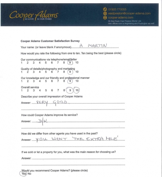 Customer satisfaction survey - A Martin
