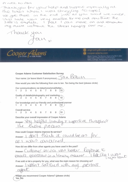 Customer Satisfaction Survey from Jan Brown