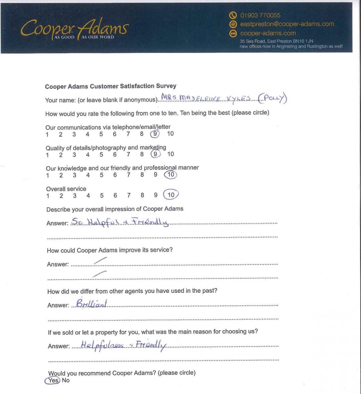 Mrs Vyles customer satisfaction survey