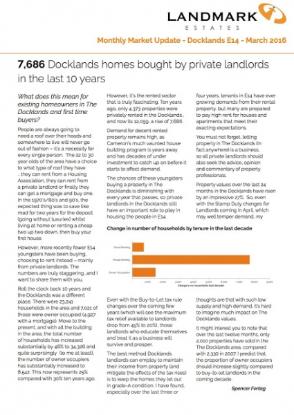 Docklands and Canary Wharf property market update for March 2016