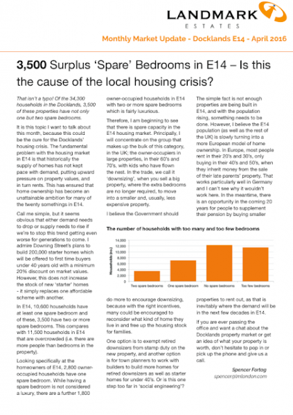 The Docklands and Canary Wharf housing crisis; my update for April 2016.