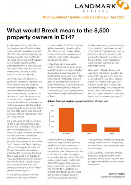 What would Brexit mean to the 8500 property owners in E14 and Canary Wharf?