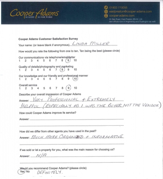 Customer satisfaction survey - Linda Miller