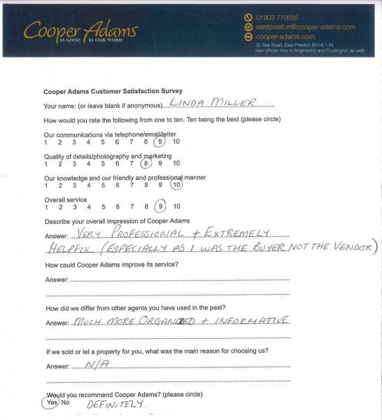 Customer satisfaction survey - Linda Miller