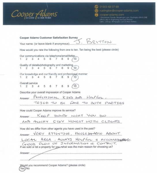 customer satisfaction survey from jeff britton